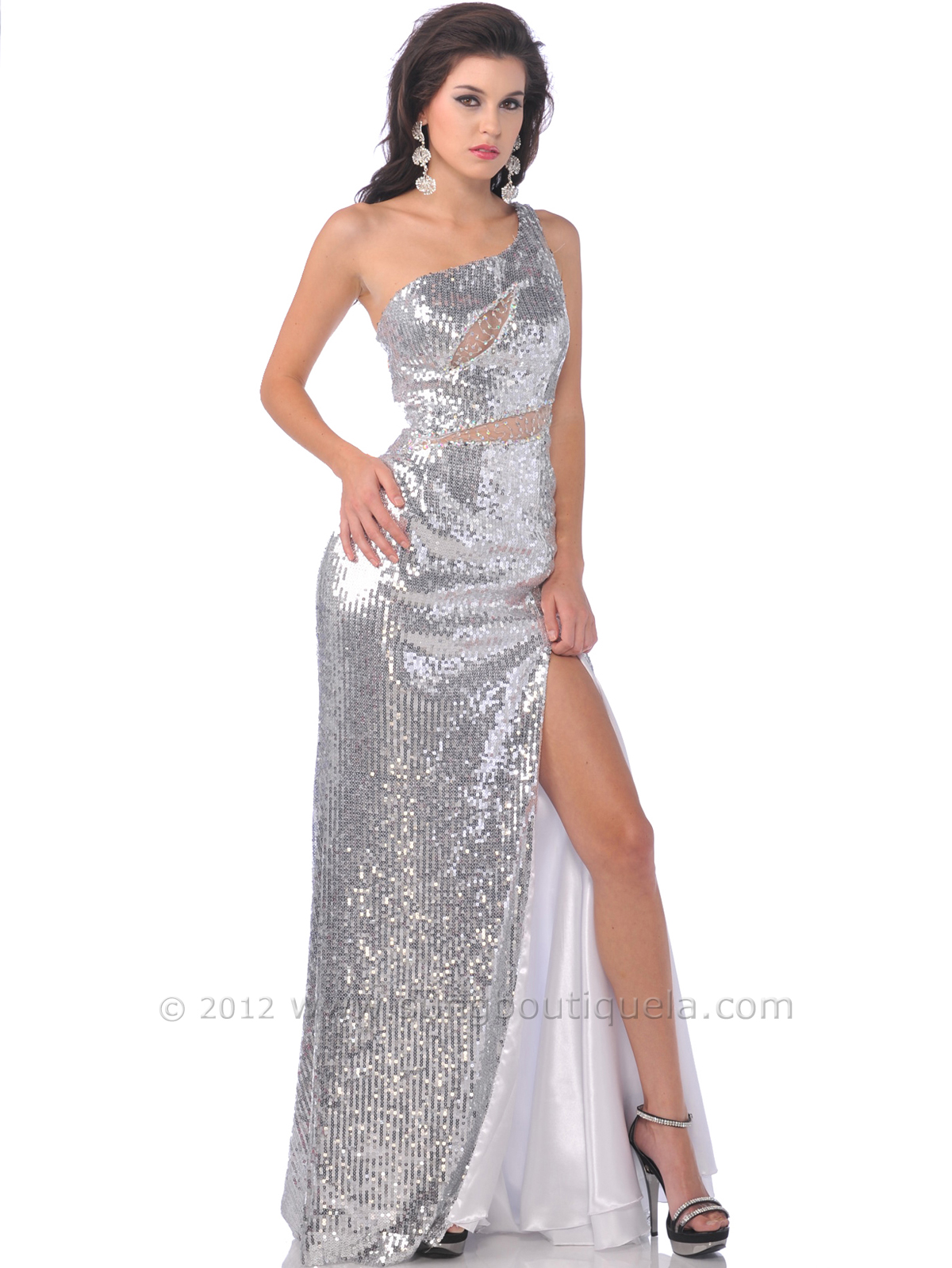 one shoulder full sequin prom dress with slit sung