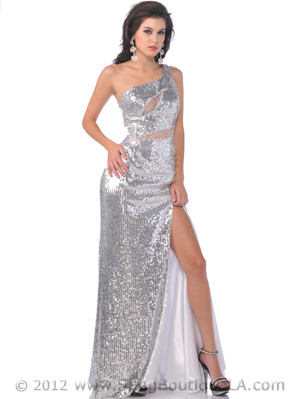 One Shoulder Full Sequin Prom Dress with Slit - Front Image