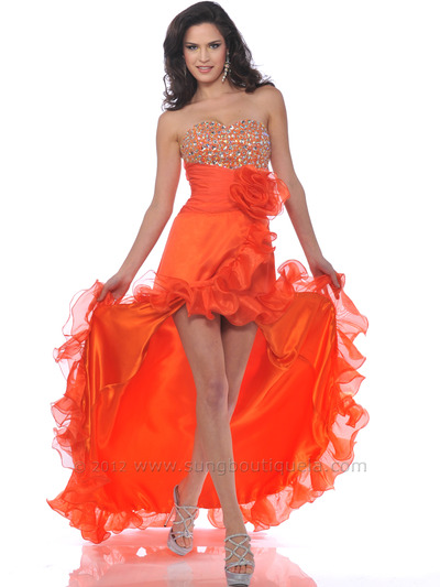 Orange Strapless Jewel Embellished Prom Dress With Slit