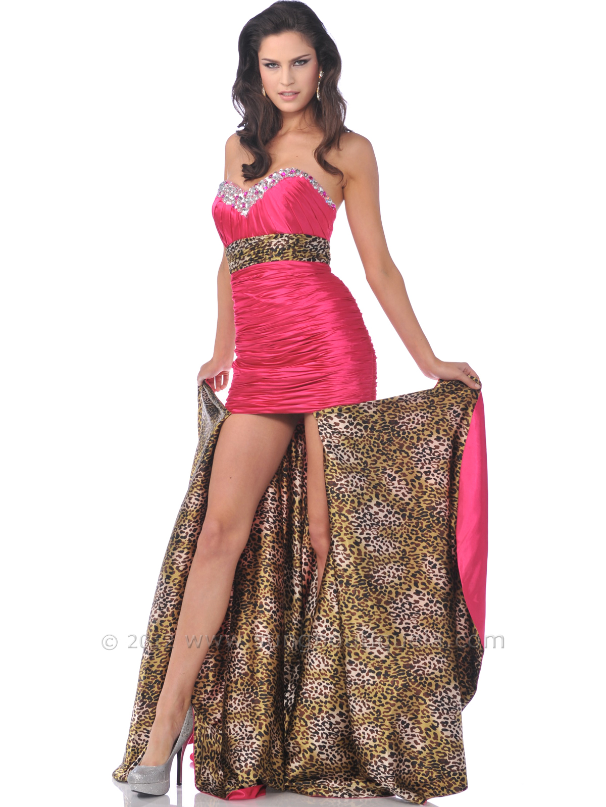 Fuschia strapless sweetheart prom dress with removable train front