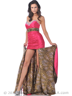 7558 Fuschia Strapless Sweetheart Prom Dress with Removable Train, Fuschia