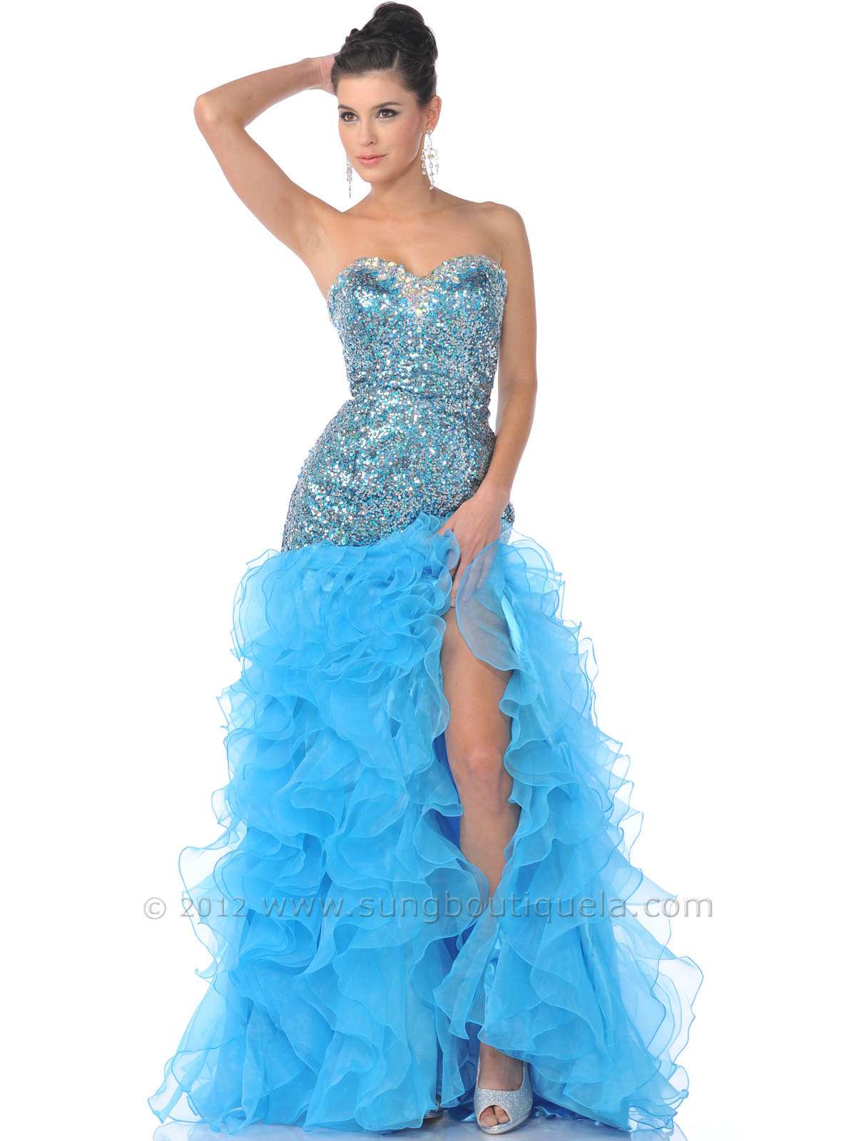 Turquoise Strapless Sequin Top Prom Dress with Ruffled Skirt ...