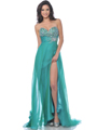 7561 Strapless Embellished Sweetheart Prom Dress with Slit