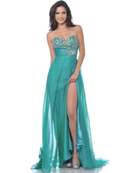 7561 Strapless Embellished Sweetheart Prom Dress with Slit, Jade