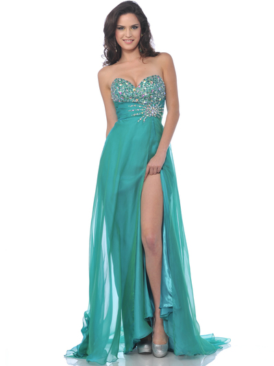 7561 Strapless Embellished Sweetheart Prom Dress with Slit - Jade, Front View Medium