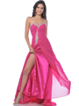 7565 Hot Pink Strapless Sweetheart Chiffon Prom Dress with Slit