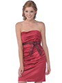 7602 Strapless Cocktail Dress with Sash - Burgundy, Front View Thumbnail