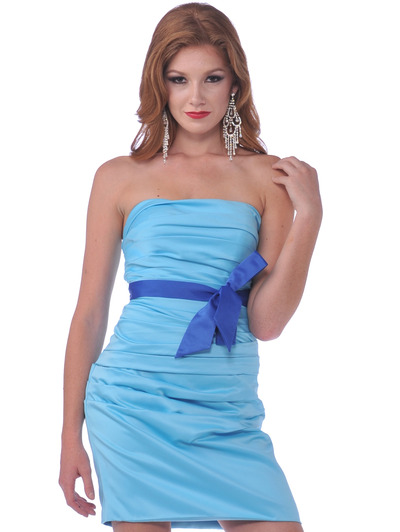 7602 Strapless Cocktail Dress with Sash - Turquoise, Front View Medium