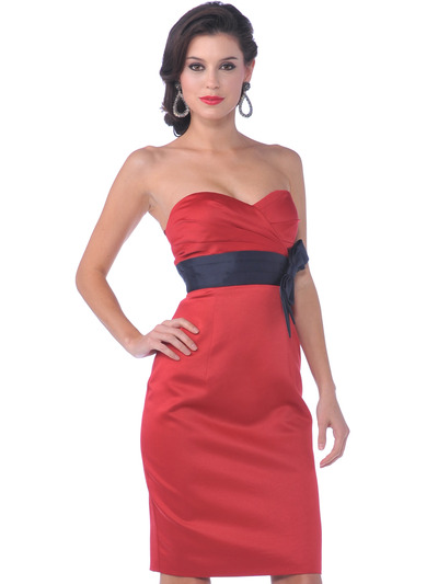 7603 Strapless Vintage Pencil Dress with Sash - Red, Front View Medium