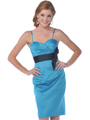 7603 Strapless Vintage Pencil Dress with Sash - Teal, Front View Thumbnail