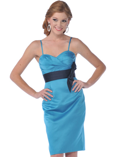 7603 Strapless Vintage Pencil Dress with Sash - Teal, Front View Medium