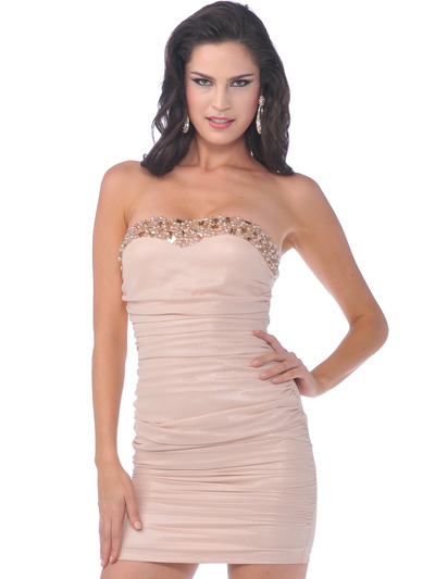 76277 Champagne Shimmer Strapless Party Dress - Champagne, Front View Medium
