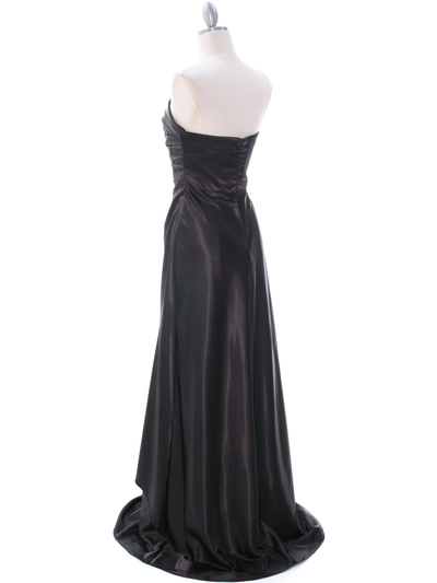7700 Black Charmeuse Evening Dress - Black, Back View Medium