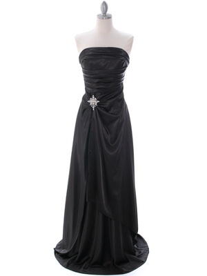 Black Charmeuse Evening Dress - Front Image