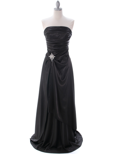 7700 Black Charmeuse Evening Dress - Black, Front View Medium