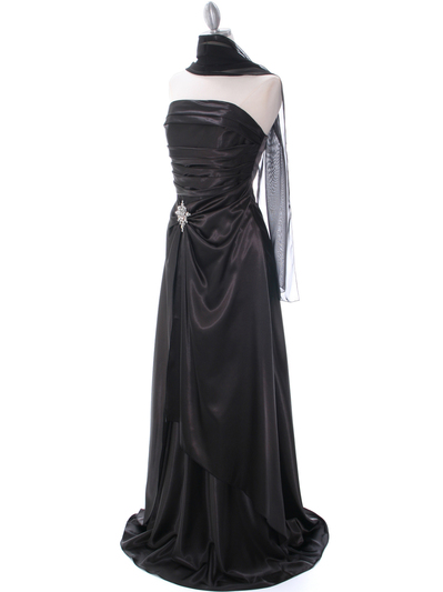 7700 Black Charmeuse Evening Dress - Black, Alt View Medium