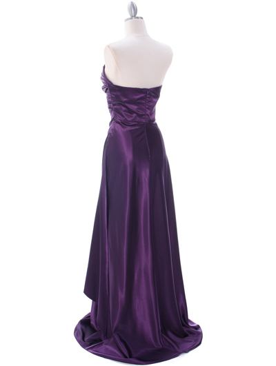 7700 Eggplant Charmeuse Evening Dress - Eggplant, Back View Medium