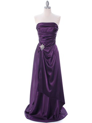 7700 Eggplant Charmeuse Evening Dress, Eggplant