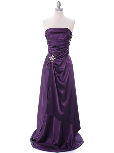 7700 Eggplant Charmeuse Evening Dress - Eggplant, Front View Medium