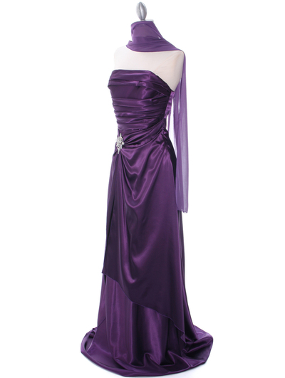 7700 Eggplant Charmeuse Evening Dress - Eggplant, Alt View Medium