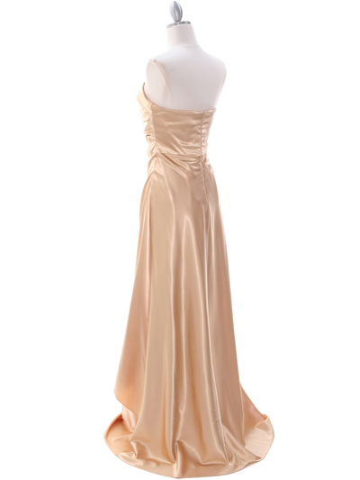 7700 Gold Charmeuse Evening Dress - Gold, Back View Medium