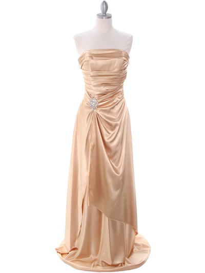7700 Gold Charmeuse Evening Dress - Gold, Front View Medium