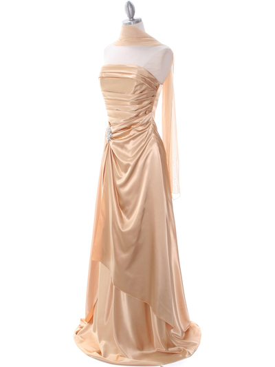 7700 Gold Charmeuse Evening Dress - Gold, Alt View Medium