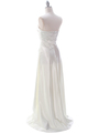 7700 Ivory Charmeuse Evening Dress - Ivory, Back View Thumbnail