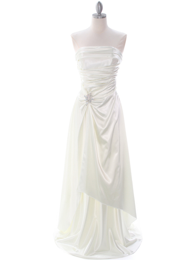 7700 Ivory Charmeuse Evening Dress - Ivory, Front View Medium