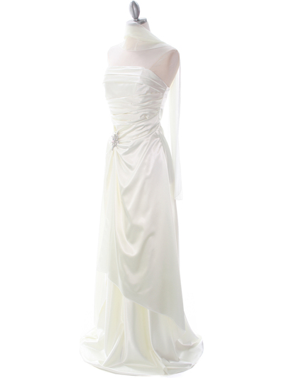 7700 Ivory Charmeuse Evening Dress - Ivory, Alt View Medium