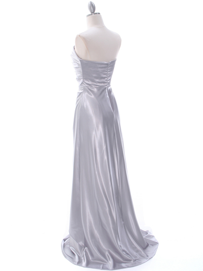 7700 Silver Charmeuse Bridesmaid Dress - Silver, Back View Medium