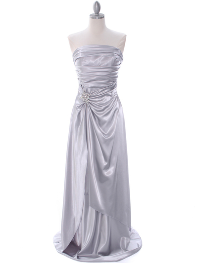 7700 Silver Charmeuse Bridesmaid Dress - Silver, Front View Medium