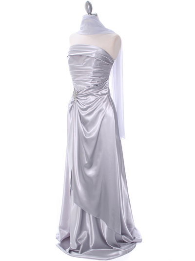 7700 Silver Charmeuse Bridesmaid Dress - Silver, Alt View Medium