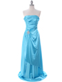 7700 Aqua Charmeuse Evening Dress - Aqua, Front View Thumbnail