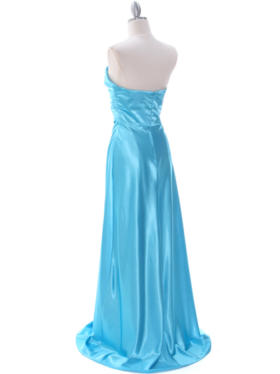 7700 Aqua Charmeuse Evening Dress - Aqua, Back View Medium