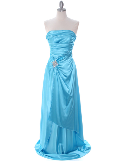 7700 Aqua Charmeuse Evening Dress - Aqua, Front View Medium