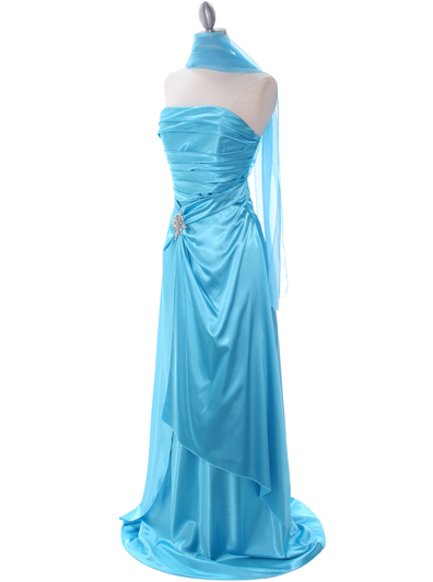 7700 Aqua Charmeuse Evening Dress - Aqua, Alt View Medium