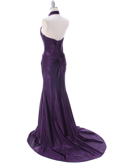 7701 Dark Purple Evening Dress - Dark Purple, Back View Medium