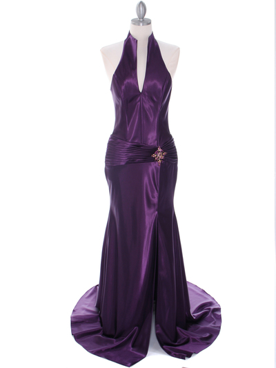 7701 Dark Purple Evening Dress - Dark Purple, Front View Medium