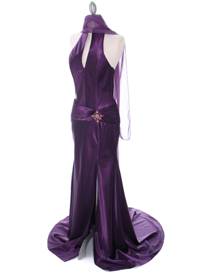 7701 Dark Purple Evening Dress - Dark Purple, Alt View Medium