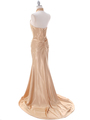 7701 Gold Evening Dress - Gold, Back View Thumbnail