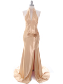 7701 Gold Evening Dress, Gold