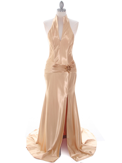7701 Gold Evening Dress - Gold, Front View Medium