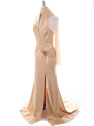 7701 Gold Evening Dress - Gold, Alt View Medium