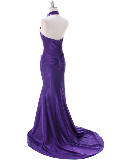 7701 Purple Evening Dress - Purple, Back View Medium