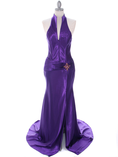 7701 Purple Evening Dress - Purple, Front View Medium