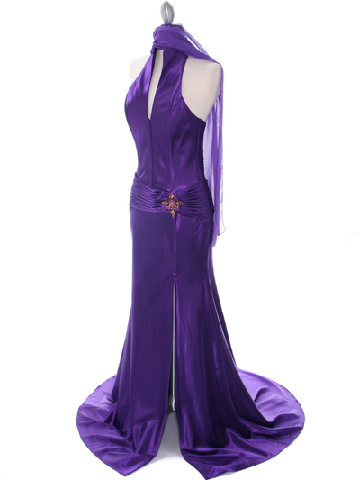 7701 Purple Evening Dress - Purple, Alt View Medium