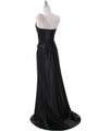 7702 Black Evening Dress with Rhinestone Straps - Black, Back View Thumbnail