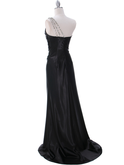 7702 Black Evening Dress with Rhinestone Straps - Black, Back View Medium