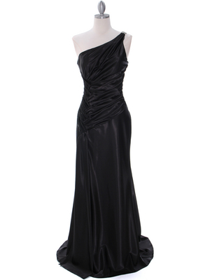 Black Evening Dress with Rhinestone Straps - Front Image